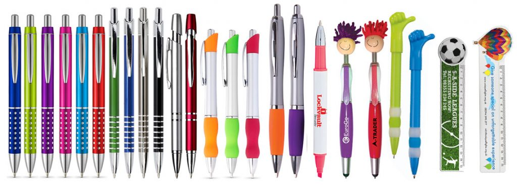 Promotional merchandise pens and rulers